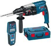 Zobrazit detail - Kombinované kladivo Bosch GBH 2-28 DV Professional + GMS 100 M Professional, pneumatické kladivo SDS-Plus + laserový měřič vzdálenosti
