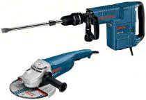 Zobrazit detail - Bourací kladivo Bosch GSH 11 E Professional + Bosch GWS 22-230 JH Professional, pneumatické sekací kladivo + úhlová bruska