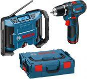 Zobrazit detail - Sada aku nářadí Bosch GSR 10,8-2-LI Professional + rádio GML 10,8 V-LI v L-Boxxu