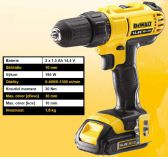 DeWALT DCD733C2 - 2-rychl.; 2x Li-Ion 14.4V/1.5Ah; 1.5kg