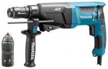 Zobrazit detail - Kombinované kladivo Makita HR2611FT - 800 W; 2.4 J; 3 kg; AVT; LED; sklíčidlo, pneumatické kladivo SDS-Plus