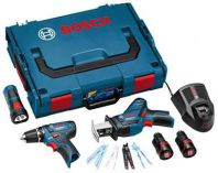 Zobrazit detail - Sada aku nářadí Bosch GSR 10,8-2-LI + GSA 10,8 V-LI + GLI 10,8 V-LI, aku vrtačka bez příklepu