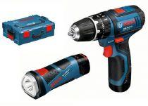 Bosch GSB 10,8-2-LI Professional v L-Boxxu 2x 2.0Ah + svítilna, aku vrtačka s příklepem