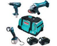 Zobrazit detail - Sada aku nářadí Makita DK18049 - 18V, BDF456RFE + BGA452Z + BML802 + taška