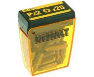 """Zobrazit detail - 25ks šroubovacích křížových BITŮ PZ 2 DeWALT, 1/4"""", 25mm"""