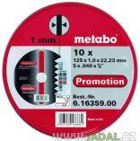 Zobrazit detail - Řezný kotouč Metabo Promotion 125 x 1,0 x 22,23 na železo, kov a nerez