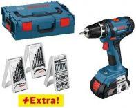 Bosch GSR 18-2-LI Professional 2x 18V/1.5Ah, 3x sada vrtáků a bitů, kufr L-Boxx, aku vrtačka