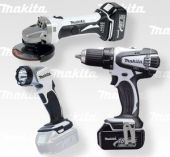 Zobrazit detail - Sada aku nářadí Makita DLX3010WX - 18V, DDF456RFE + DGA452Z + BML802 + taška (bílé provedení)