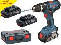 Zobrazit detail - Bosch GSB 18-2-LI Professional, 3x 1,5Ah Li-Ion, aku vrtačka s příklepem + kufr L-Boxx