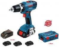 Bosch GSR 18-2-LI Professional + L-Boxx - 3x 18V/1.3Ah
