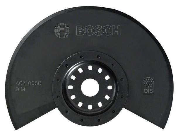 Bimetalový segmentový nůž Bosch ACZ 100 SB BIM na měkké materiály pro Multifunkční nářadí Bosch PMF 180 E, 190 E, Set, 250 CES, GOP 250 CE, 300 SCE, 10.8 V-LI Professional, Makita BTM50Z, BTM50RFEX4, Casals, Metabo, Skil