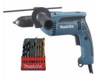 Příklepová vrtačka Makita HP1641K1X - 680W; 16mm; 1,8kg; kufr; rychlosklíčidlo, sada vrtáků