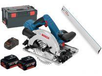 Bosch GKS 18V-57 G Professional + FSN 1600, 2x 18V/5.0Ah, 165mm, L-Boxx, aku kotoučová pila + Lišta