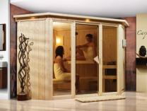 Finská sauna Karibu FLORA 2 + střešní římsa
