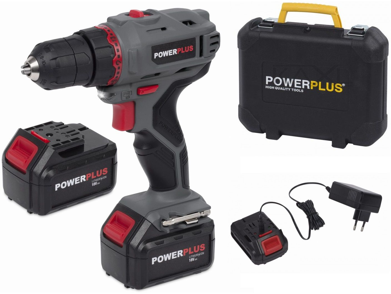 PowerPlus POWE00042 Aku vrtačka bez příklepu - 1x 18V/1.3Ah, 30Nm 1.6kg, 12ks bitů, v kufru PowerPlus (VARO)