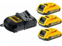 Sada nabíječky a akumuátorů DeWALT DCB115D3-QW - 3ks XR Li-Ion 18V/2.0Ah + nabíječka