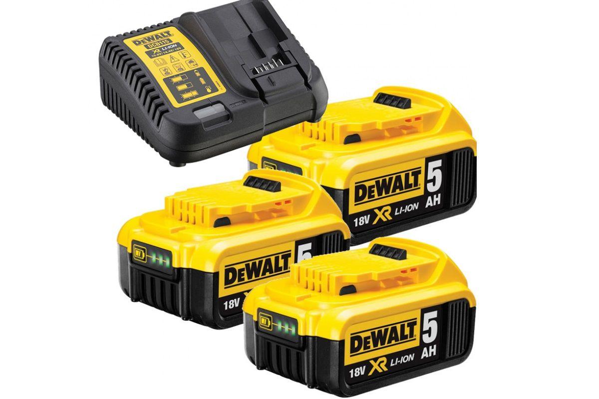 DeWALT DCB115P3-QW Sada nabíječky a akumuátorů - 3ks XR Li-Ion 18V/5.0Ah + nabíječka