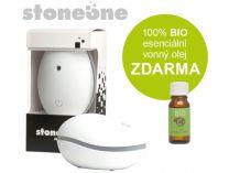 Ultrasonický aroma difuzér Stoneone BÍLÝ + 100% BIO esenciální vonný olej ZDARMA