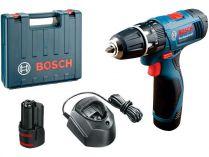 Bosch GSB 120-LI Professional - 2x 10.8V/1.5Ah, 28Nm, 2 rychl., 1.0kg, kufr, aku vrtačka s příklepem