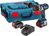 Bosch GSB 18 VE-EC Professional - 2x 18V/5.0Ah, 75Nm, 2.3kg, kufr, bezuhl. aku vrtačka s příklepem