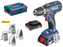 Bosch GSR 18-2-LI Plus Professional - 2x 18V/2.0Ah, L-Boxx + Sady vrtáků a bitů