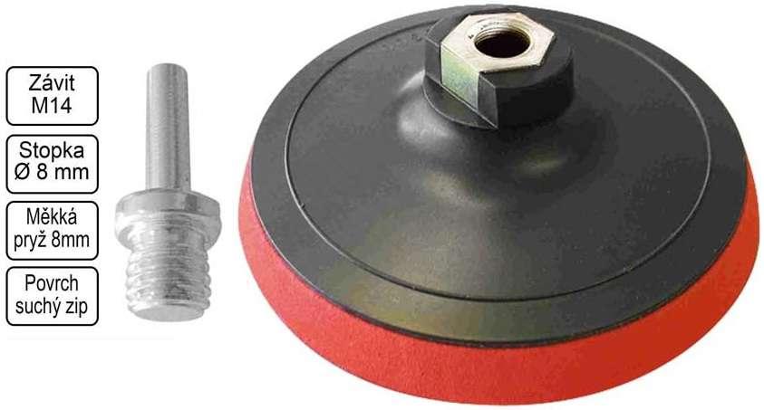 Univerzální unašeč Magg 125 mm, závit M14 + stopka 8 mm, suchý zip (do úhlové brusky a vrtačky)