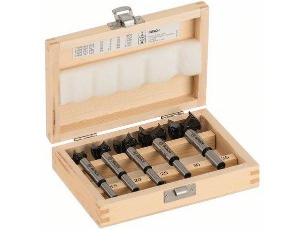 Bosch 5-dílná sada středicích vrtáků do DŘEVA se dvěma ostřími, tvrdokov HM/CT, pr. 15, 20, 25, 30, 35 mm (2607018750) Bosch příslušenství