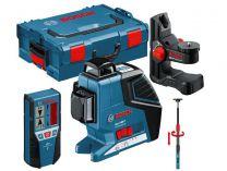 Křížový laser Bosch GLL 3-80 P Professional + držák BM 1 + přijímač LR 2 + stativ + kufr L-BOXX