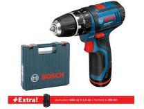 Bosch GSB 12V-15 Professional - 2x 12V/2.0Ah + extra 1x aku, 30Nm, 1.0kg, kufr, aku vrtačka s příkl.