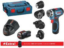 Bosch GSR 12V-15 FC Set Professional - 2x 12V/2.0Ah + extra 1x Aku, L-BOXX, příslušenství