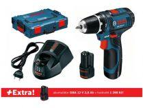 Bosch GSR 12V-15 Professional - 2x12V/2.0Ah + extra 1x Aku, 30/15Nm, L-BOXX, aku vrtačka bez příkl.
