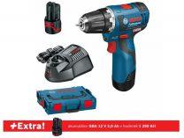 Bosch GSR 12V-20 Professional - 2x12V/2.5Ah + extra 1x aku 12V/2.0Ah, L-BOXX, aku vrtačka bez příkl.