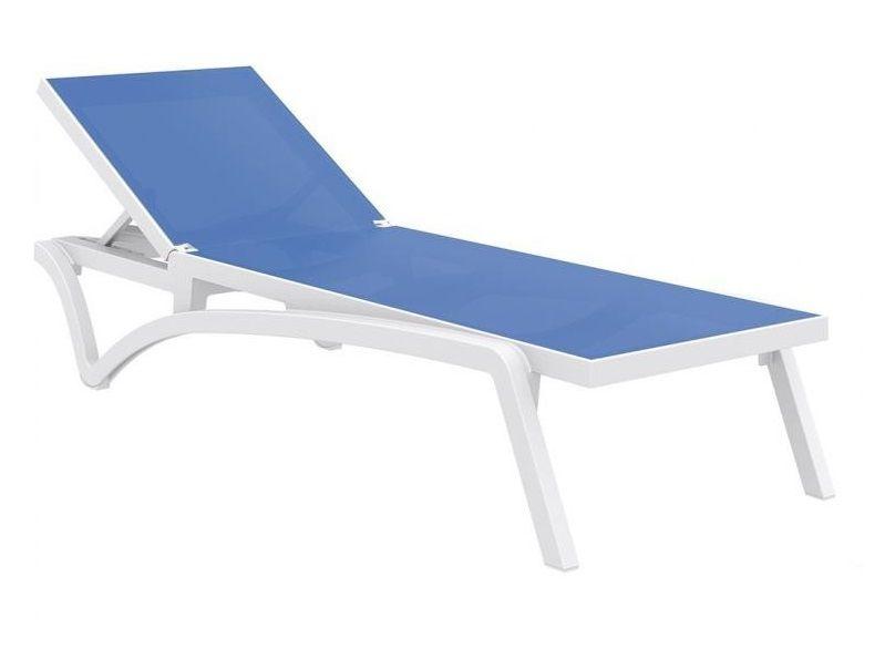 Zahradní lehátko PACIFIC - SIESTA EXCLUSIVE - bílé/modrá látka, 68x35x193cm, 16.5kg, pryskyřice/tkanina (441346) Siesta (Hanscraft)