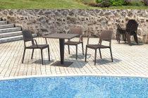 Zahradní stůl RIVA - SIESTA EXCLUSIVE - hnědý - 70x74x70cm, 17kg, ratan/hliník (441212) Siesta (Hanscraft)