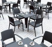 Zahradní stůl RIVA - SIESTA EXCLUSIVE - šedý - 70x74x70cm, 17kg, ratan/hliník (441211) Siesta (Hanscraft)