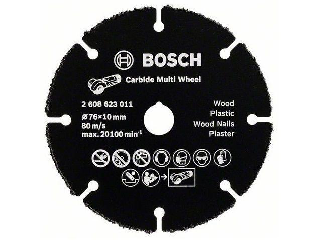 Karbidový řezný kotouč z tvrdokovu Bosch Carbide Multi Wheel na DŘEVO, PLASTY a HŘEBÍKY pro aku úhlovou brusku Bosch GWS 12-76 V-EC - 76mm (2608623011) Bosch příslušenství