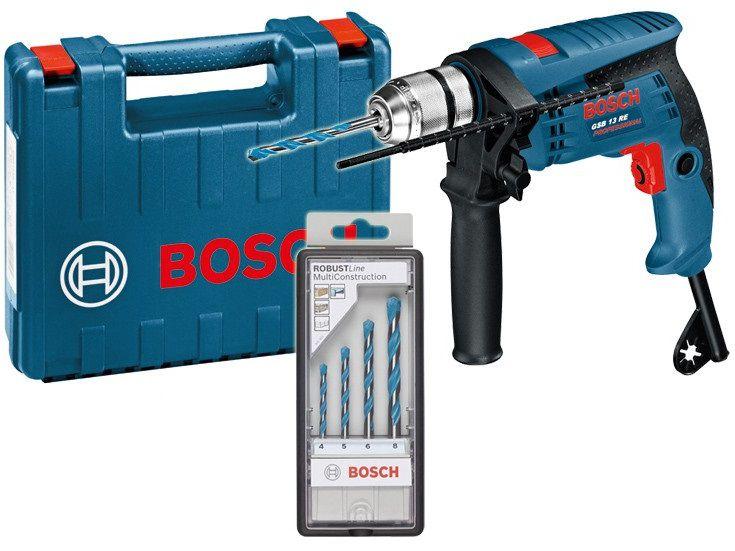 Příklepová vrtačka Bosch GSB 13 RE Professional - 600W, 10.8Nm, 0-44.800úd./min, 1.8kg, rychloupínací sklíčidlo 13 mm, hloubkový doraz 210 mm, přídavná rukojeť, 4dílná sada vrtáků Robust Line Cyl-9, v kufru (0601217103) Bosch PROFI