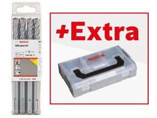 Sada 10ks čtyřbřitých vrtáků do kladiv Bosch SDS-plus-5X do armovaného betonu 6.5x200x260mm + dárek mini kufr L-BOXX v hodnotě 246 Kč (2608833896) Bosch příslušenství