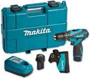 Makita HP330DWE - 2x 10.8V/1.3Ah, 24Nm, 2 rychl., 1.1kg, kufr, aku vrtačka s příklepem