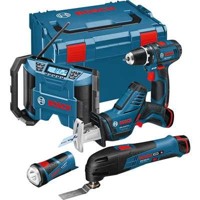 Sada aku nářadí Li-ion Bosch 5 ToolKit 10,8 V-LI: GSR 10,8-2-LI + GOP 10,8 V-LI + GSA 10,8 V-LI + GLI 10,8 V-LI + GML 10,8 V-LI v L-Boxu (0615990EW8)