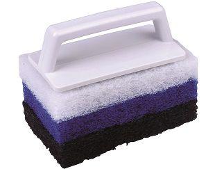 Bazénový čistič houbový s rukojetí - 3 vrstvy, modrý plast, pro ostraňování usazenin a nečistot, 0.2kg (311221) Hanscraft