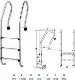 Bazénový žebřík HANSCRAFT MIXT - 3 stupně, bazénové schůdky s madly, zakřivené, protiskluzná úprava, nerez ocel AISI304, 10.5kg (312040)