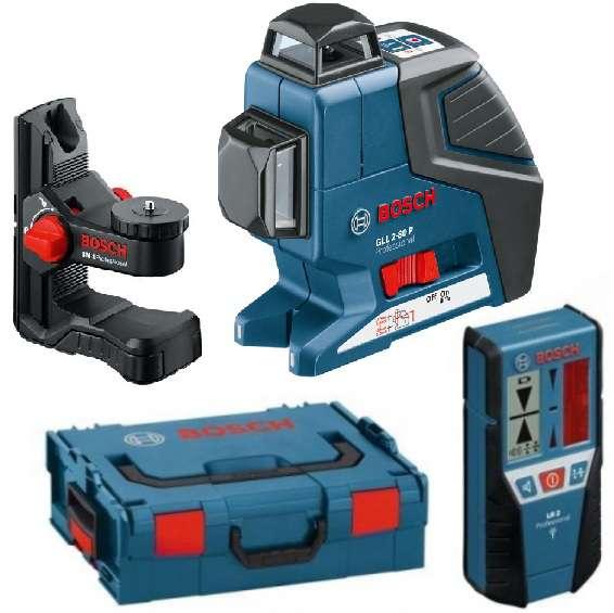 Bosch GLL 2-80 P Professional Křížový laser + Univerzální držák BM 1 + Laserový přijímač LR 2 + kufr L-Boxx Professional (0601063209)