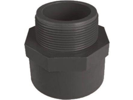 """Přechodka lepení/závit externí 63x2"""", PVC tvarovka šedá, 0.13kg (313002) Hanscraft"""