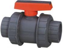 Ventil - průměr 50 mm - kulový dvojcestný Extra, PVC, šedý, 0.96kg