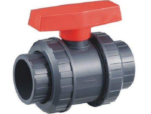 Ventil - průměr 50 mm - kulový dvojcestný, k propojení trubek, PVC, šedý, 0.7kg (313010) Hanscraft