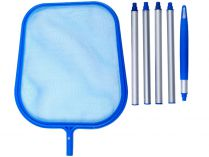 Bazénová hladinová síťka - mělká se skládací tyčí, modrý plast, 1.1kg