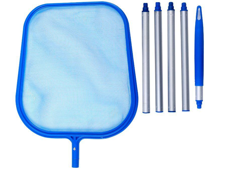 Bazénová hladinová síťka - mělká se skládací tyčí, modrý plast, 1.1kg (311031) Hanscraft