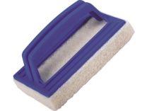 Bazénový čistič houbový s rukojetí, modrý plast, pro ostraňování usazenin a nečistot, 0.15kg