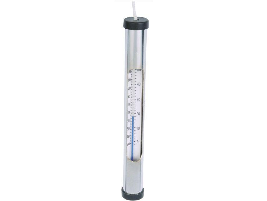 Bazénový teploměr neplovoucí, chromovaný 17cm, ponorný s upevněním pomocí provázku, 0.2kg (311112) Hanscraft